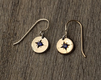 Royal Blue Sapphire - Star Earrings - Gold Filled - Hand Engraved - Tiny
