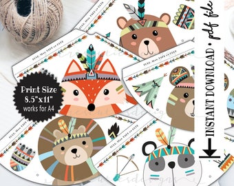 Printable Party Hat - Wild One - Tribal Animals - First Birthday - Instant Download