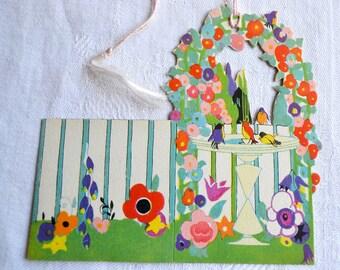 Vintage Tally Card - Bird Bath Flower Garden - Unused Henderson