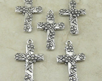 5 TierraCast Floral Flower Cross Charms > Spring Easter Religion Catholic -  Silver Plated LEAD FREE Pewter - I ship Internationally 2196