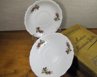 Vintage Moss Rose Saucers - Set of Two (2)