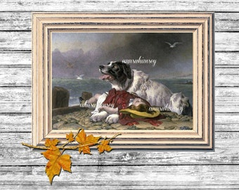 Beautiful Nursery Art, Nursery Wall Art, Nursery Decor, Family Room Art, Guest Room Art, Dog Protects Little Girl Art #437