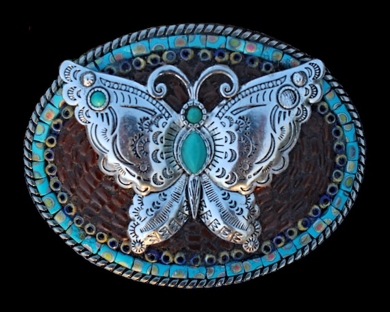 Southwestern Western Butterfly Mosaic Belt Buckle with Faux Turquoise