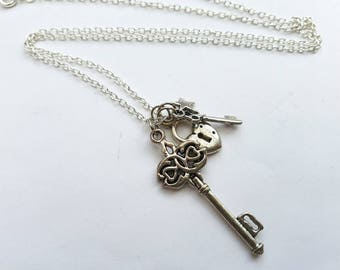 Lock and key necklace, silver heart padlock, keys and star charms on chain, key to my heart, best friends jewellery