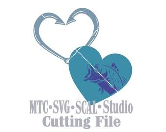 SVG coupe fichier que j'aime pêche MTC SCAL Cricut Silhouette coupe fichiers