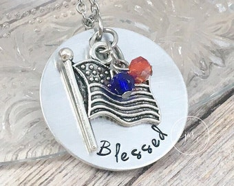 Patriotic Necklace, American Flag Jewelry, Hand Stamped Jewelry, Blessed Necklace, 4th of July Jewelry, Patriotic Gifts, Red White and Blue