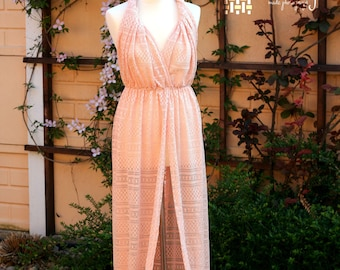 Peach Color Lace Maternity Dress, Full Length Sheer Lace Maternity Gown, Maternity photo props, Photography Props