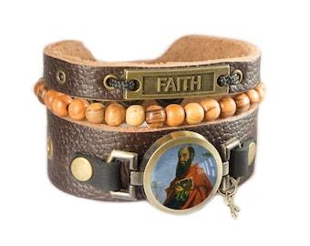 Saint Paul Leather Bracelet, Cross Bracelet with Holy Land Bethlehem Rosary Olive Wood Beads