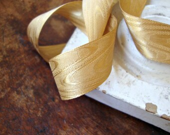 2 Yards - Antique Gold Moire Ribbon