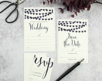 DIY Write Your Own Wedding Stationery - Ready to Write Wedding Invitations - Nightgarden - DIY Wedding - Blank Invitations - Fill In Invite