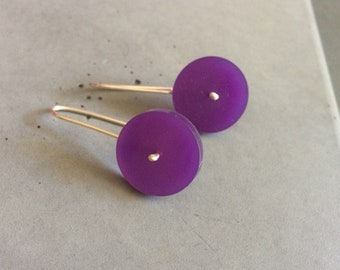 Long Circle Earrings made of Sterling Silver and Violet Plexi, Minimalist Silver Jewelry