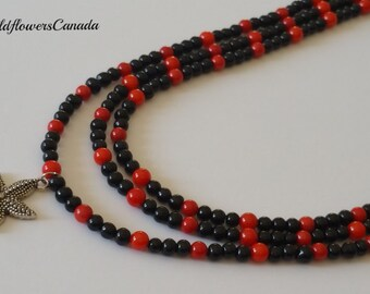 Beaded necklace, Black and red necklace, Red coral necklace, Statement necklace, Jewelry, Summer necklace, Birthday gift, Accessories