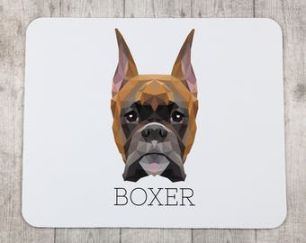 A computer mouse pad with a Boxer dog. A new collection with the geometric dog