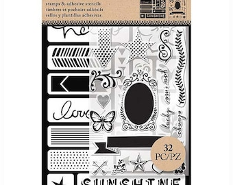 Art-C Stamp & Stencil set WORDS and ICONS 32 Piece set.