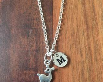 Deer charm necklace, deer jewelry, bambi jewelry, doe necklace, nature jewelry, hunting jewelry, deer silver necklace, hunting jewelry