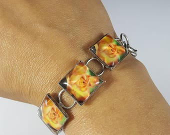Square Rose Bracelet in Gunmetal with Square Glass Cabochons Flower Bracelet Flower Jewelry Nature Jewelry Photo Jewelry Photo Bracelet