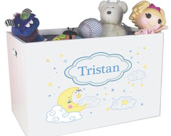 Personalized Open Toy Box with Moon and Stars Design YBIN-243