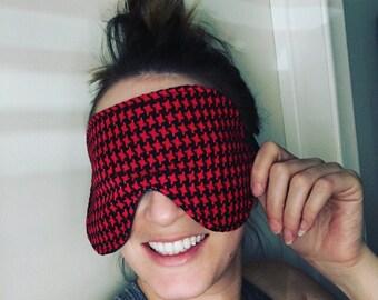 Oversized Womens Mens Sleeping Sleep Travel Eye Mask Stretchy Silk Satin Houndstooth Red Black