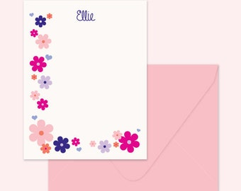 Floral Notecards, Note for girl, Flower notecard - Printed cards or Digital File - Pink & Purple Flowers