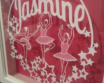 Personalised handcut 'floating' papercut of any one name and three ballet dancers