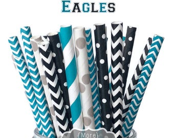 Game Day Eagles - Straw Multipack, Limited Edition, Superbowl, Party, Football, 2018, Teal, Black, Gray, Grey