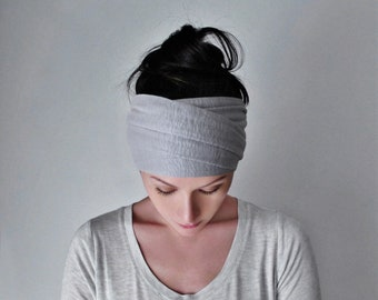 LIGHT GRAY Head Scarf, Silver Headband, Lightweight Sweater Knit Headband, Pale Grey Headbands for Women, Knit Bohemian Hair Accessories