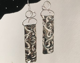 Embossed Sterling Silver Earrings on Sterling Silver Ear Wires