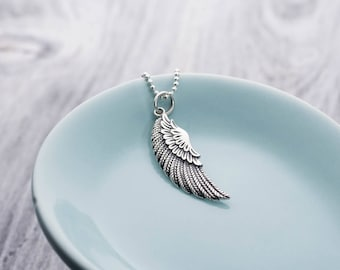 Angel Wing Pendant Necklace, Angel Wing Pendant Silver, Angel Wing Necklace Sterling Silver, Wing Pendant, Guardian Angel Necklace