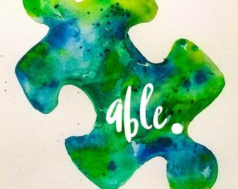 Able Autism Awareness Light It Up Blue Raglan Tee Original Art Shirt women youth
