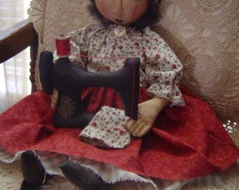 PRIMITIVE Folk Art Cloth doll pattern, DOLL ePattern, sewing machine, easy sewing pattern