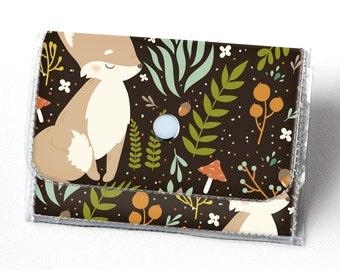 Handmade Vinyl Accordion Wallet - Forest Friends 1/ fox, woodland, cute, small wallet, snap, cute, card case, vinyl wallet, women's wallet,