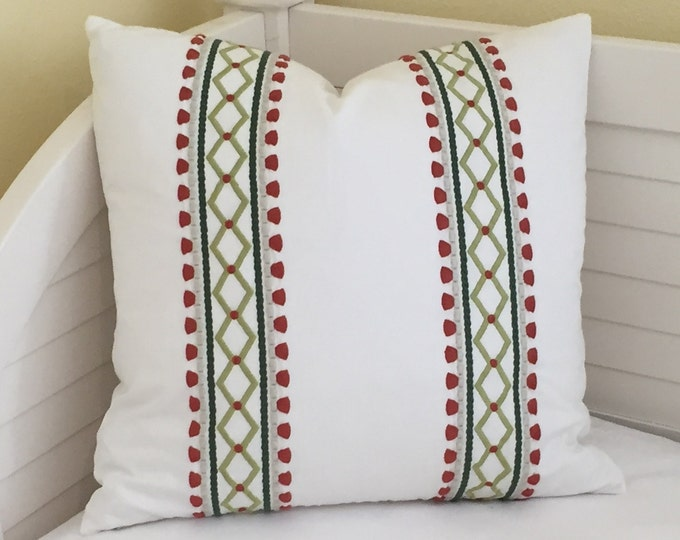 Designer Pillow Cover, Madcap Cottage Viva Acapulco in Rhubarb Pillow Cover, Embroidered Pillow