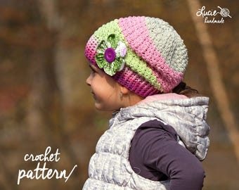 Crochet Hat PATTERN No.96 - Uni Slouchy Hat, Autumn Hat, Spring Hat Crochet Pattern, Slouchy Hat Pattern, Crochet Pattern Hat, Flower hat