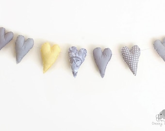 Heart bunting grey and yellow, heart garland, fabric hearts, hanging hearts, Valentine's hearts, banner of 7 hearts on grey Baker's Twine