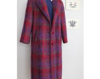 Vintage Penguin Full Length Fuzzy Plaid Blanket Trench Coat With Silk Lining