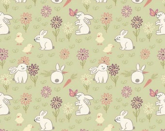 By The HALF YARD - Bunny Garden by Lewis & Irene, #A148.2 Bunny Adventure on Pale Green, White Bunnies, Carrots, Spring Flowers, Butterflies