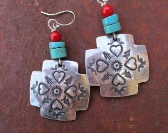 Heart Crossroads Earrings - Southwest Silver Finish Bronze Cross Earrings - Turquoise and Coral Silver Cross Earrings