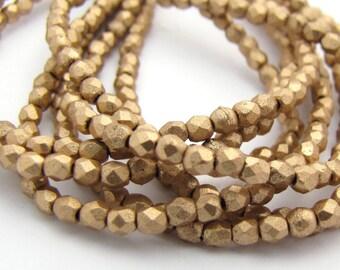 NEW Matte Metallic Flax Gold 2mm Facet Round Czech Glass Fire Polished Beads 50pc #2969