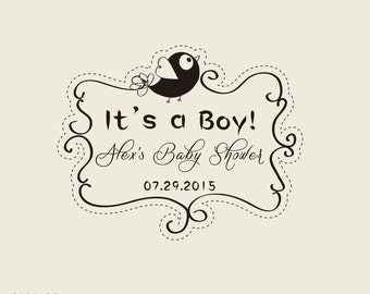 It U0027s A Boy Custom Stamps Baby Shower Stamp   Cute Birds Custom Rubber Stamp