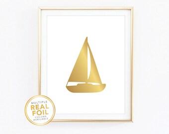 Gold foil Print, Nautical, Sailboat, Boat, Real Foil Print, Silver foil, Beach House, Nautical, Sailor, Nautical Home