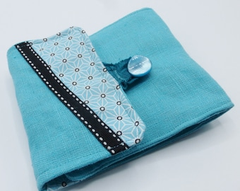 Turquoise blue checkbook cover in cotton and linen