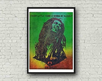 A4 Bob Marley Three Little Birds Every Little Thing is Gonna be Alright Zentangle Colour Art Quote Print