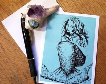 Turquiose Mermaid Folded Note Cards; Set of 5; Fantasy; Stationary; Coastal