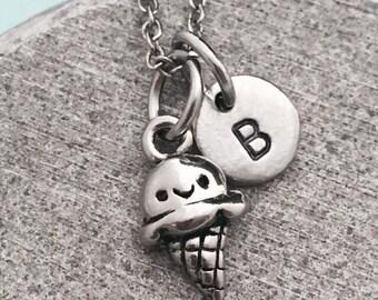 Ice cream cone necklace, ice cream cone charm, food necklace, personalized necklace, initial necklace, monogram