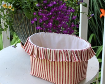 Ruffled Country Farmhouse Fabric Basket in Red Stripe Ticking