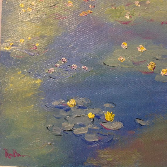 Water Lilies Art, Original Oil Painting, Tiny Still Life, Small Art Water Lilies
