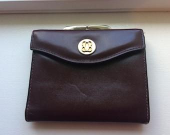 Vintage Bosca Women's Burgundy Bi-Fold Wallet