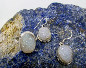 Druzy Stone 925 Sterling Silver Very Attractive Beautiful Natural ORIGINAL Druzy Gem Stone Ring and Earrings