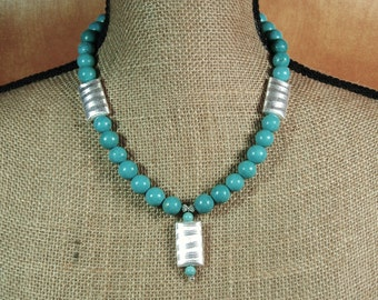 American Blue Turquoise Gemstones, .925 Sterling Silver Pendant Necklace and Earrings