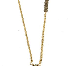 Pyrite Teardrop Charm Necklace